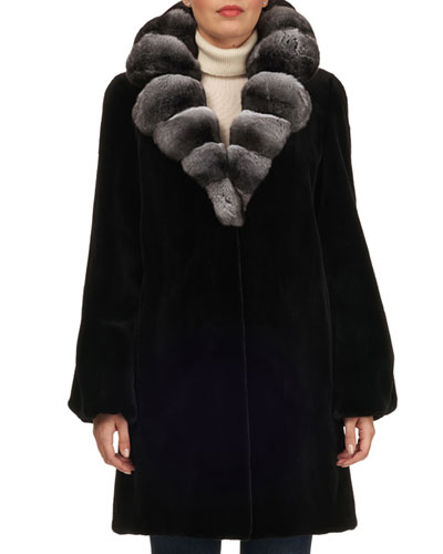 Chinchilla Notched-Collar Mink Fur Stroller Coat