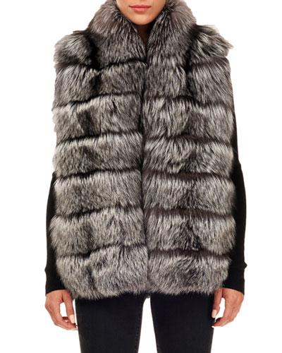 Horizontal-Quilted Fox-Fur Vest