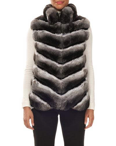 Chevron Chinchilla Fur Vest