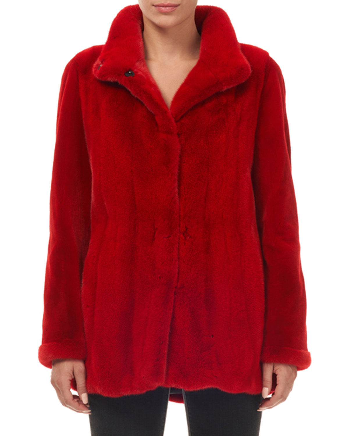 Wing-Collar Snap-Front Mink Fur Jacket w/ Sheared Sleeves