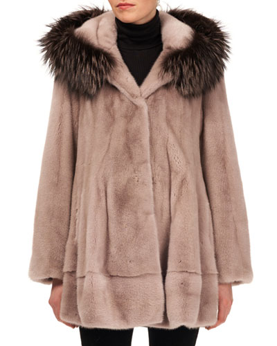 Mink Fur Jacket w/ Fox-Fur Hood