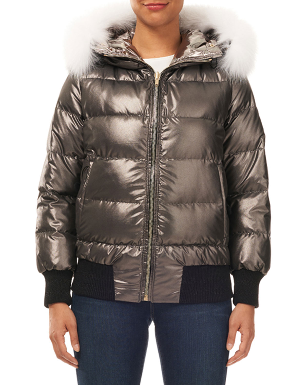 Reversible Quilted Puffer Bomber Jacket w/ Detachable Fox Hood Trim