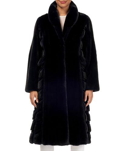 Wing-Collar Long Mink Fur Coat w/ Sheared Mink Inserts