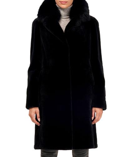 Sheared Mink Fur Coat w/ Fox Collar