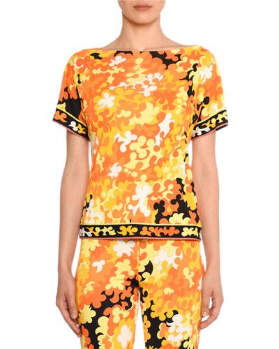 Short-Sleeve Hydrangea Print Top