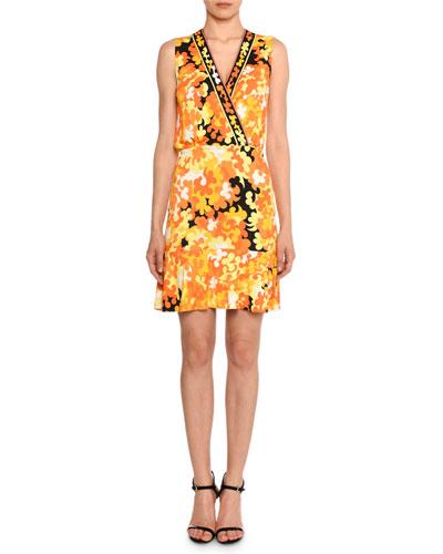 Sleeveless Surplice-Neck Hydrangea-Print A-Line Dress