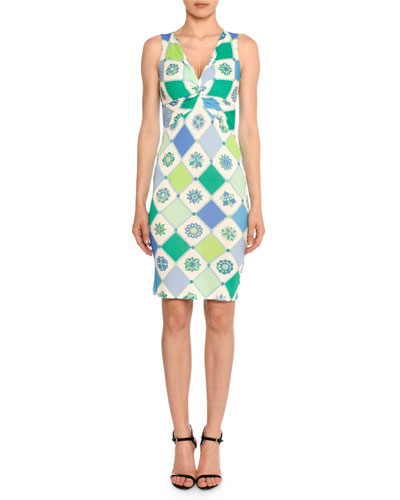 Twist-Front Sleeveless 1960's Wallpaper-Print Sheath Dress