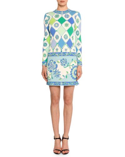 Long-Sleeve Round-Neck Wallpaper-Print Sheath Dress