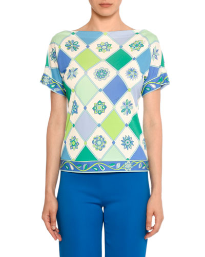 Boat-Neck Short-Sleeve Wallpaper-Print Silk-Blend Top