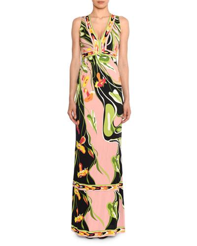 V-Neck Sleeveless Border Water Lily Print A-Line Dress