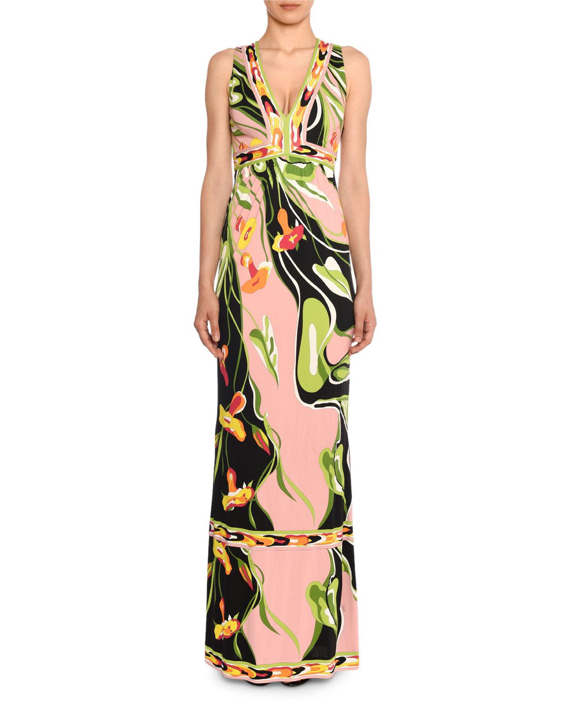 V-Neck Sleeveless Border Water Lily Print A-Line Dress, Black/Pink