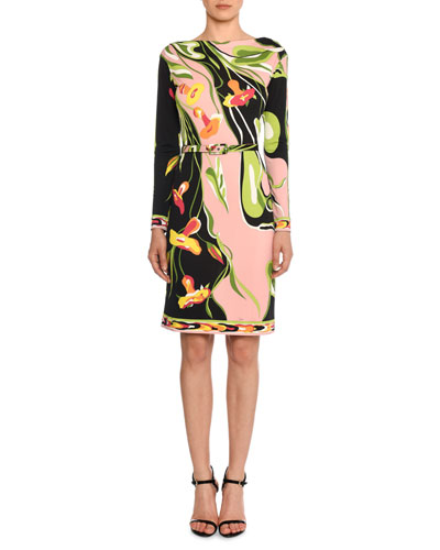 Boat-Neck Long-Sleeve Water Lily Print Shift Dress