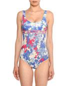 Emilio Pucci Scoop-Neck Hydrangea-Print Open-Back One-Piece Swimsuit