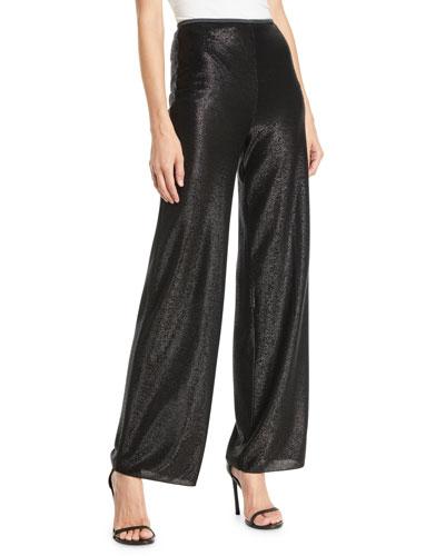 Easy High-Waist Wide-Leg Metallic-Mesh Pull-On Pants