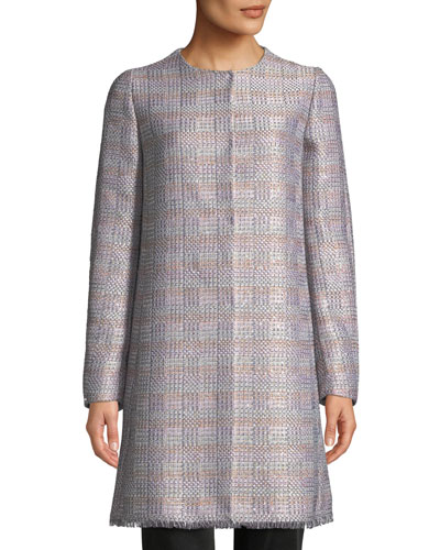 Frayed-Trim Multi-Tweed Topper Coat