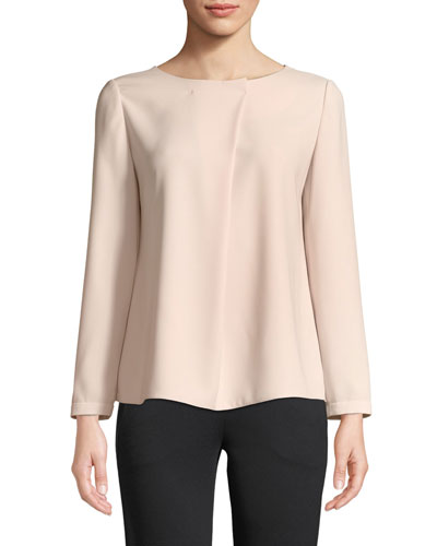 Long-Sleeve Pleated-Front Blouse