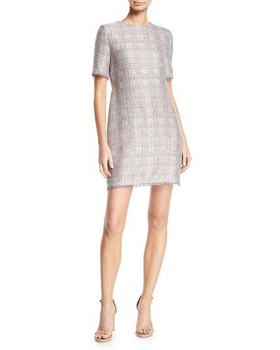 Short-Sleeve Tweed Fringe-Trim Dress