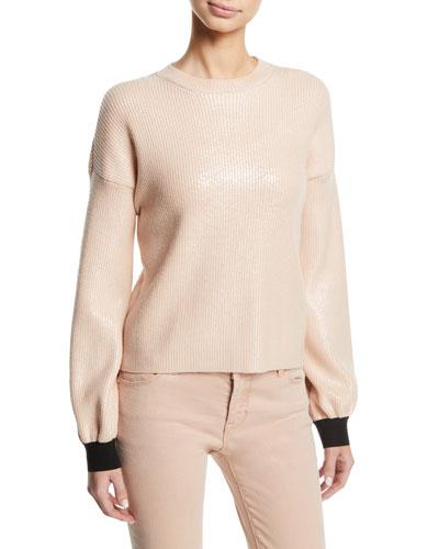 Crewneck Ribbed Pullover Sweater w/ Metallic Coating