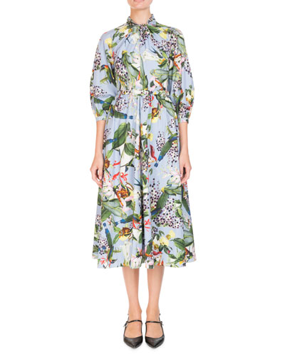 Printed Twist Dress Neiman Marcus