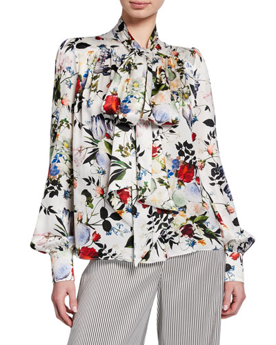 Lucien Tie-Neck Long-Sleeve Floral-Print Silk Blouse