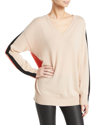 Cashmere Colorblocked V-Neck Sweater