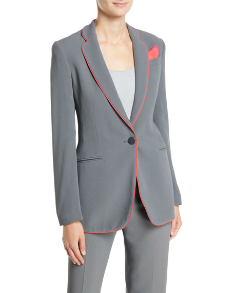 Emporio Armani One-Button Silky Cady Jacket w/ Piping Trim