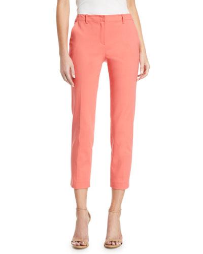 Mid-Rise Crop Cotton-Stretch Pants