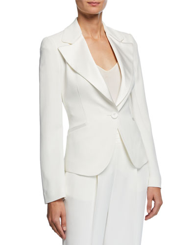 Exaggerated Satin Lapel One-Button Cady Jacket