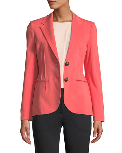 Alba Stretch-Cotton Seamed-Front Blazer
