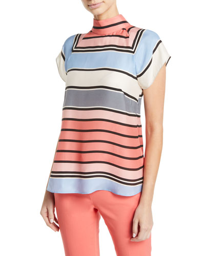 Multicolor Awning-Stripe Matte Satin Mock-Neck Blouse