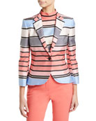 Emporio Armani One-Button 3/4-Sleeve Multicolor Awning-Stripe