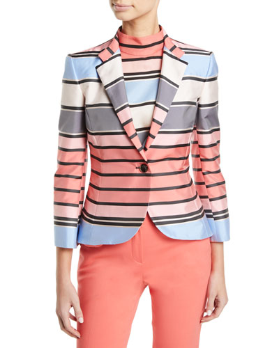 One-Button 3/4-Sleeve Multicolor Awning-Stripe Taffeta Jacket