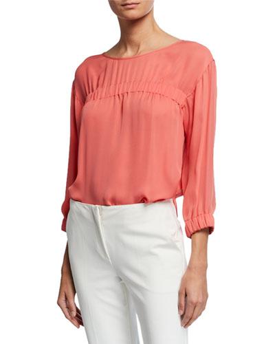 3/4-Sleeve Silk Chiffon Blouse with Elastic Detail