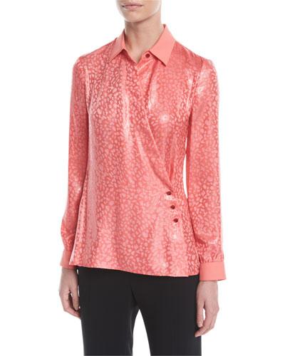 Leopard-Print Crisscross Fluid Metallic Silk Jacquard Blouse