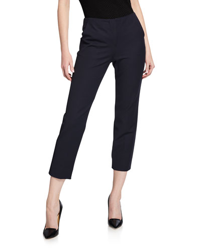 Straight-Leg Cotton-Stretch Pants