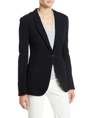 Waffle-Pattern One-Button Pure Cotton Jersey Blazer