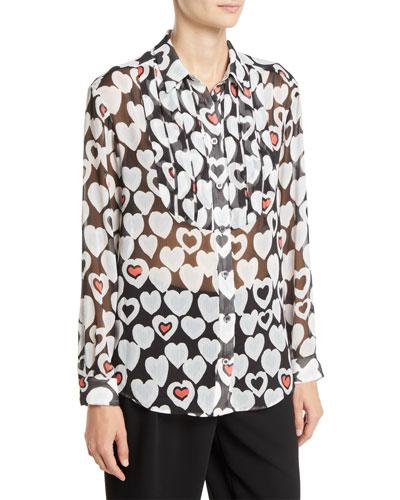 Long-Sleeve Button-Front Heart-Print Chiffon Blouse