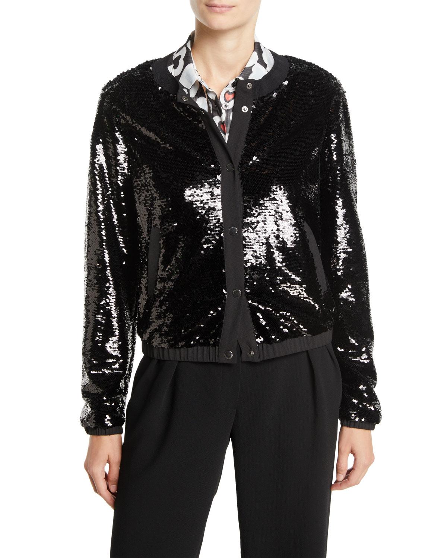 Snap-Front Sequin Blouson Jacket in Black