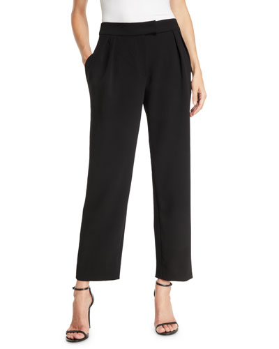 Pebble Crepe Pleated Straight-Leg Fashion Pants