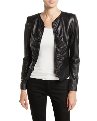 Slim Ruched Leather Zip-Front Jacket