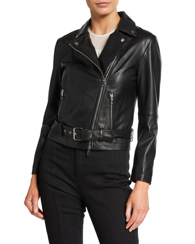 Leather Zip-Front Biker Jacket