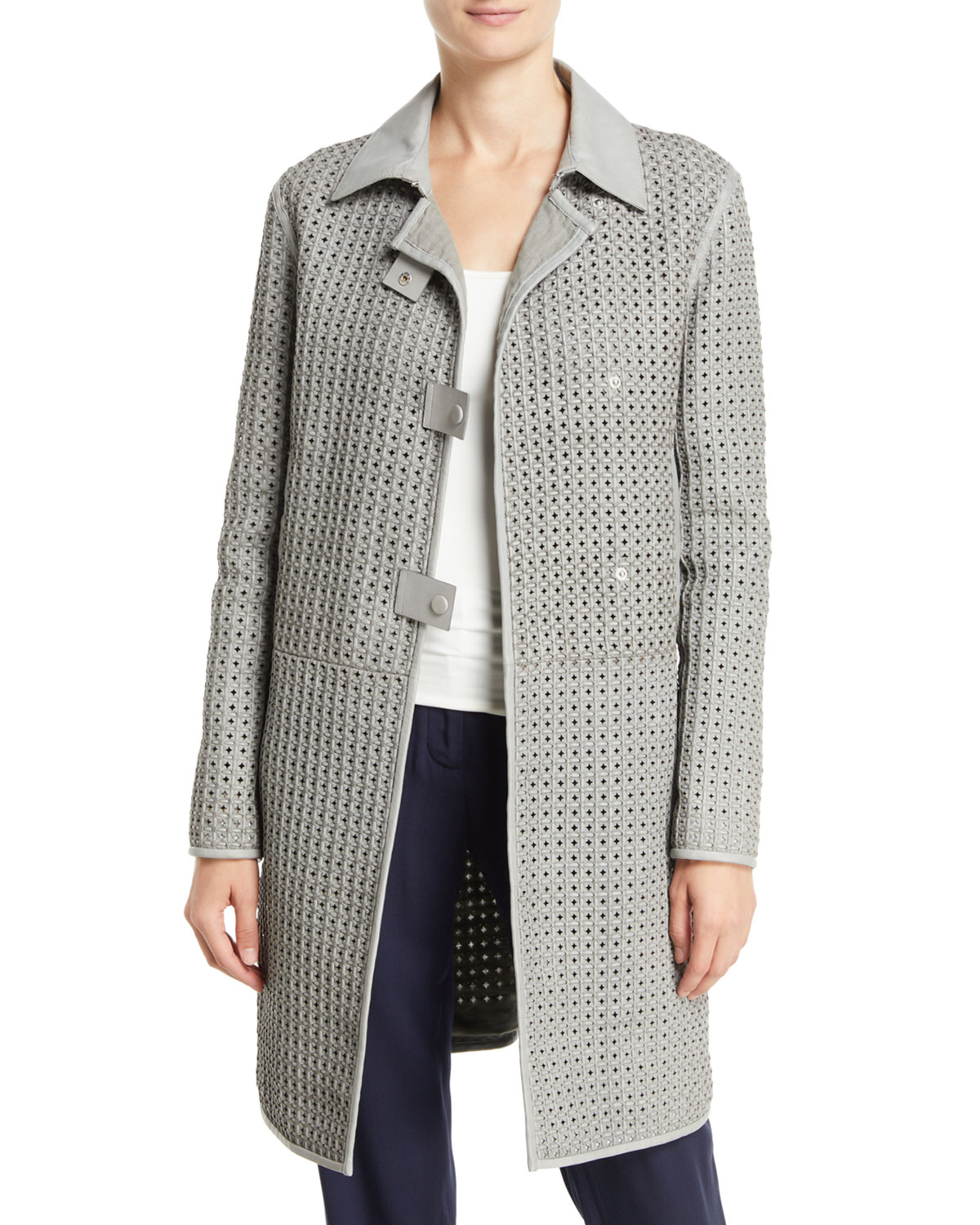 Pietra Waffle-Weave Leather Topper Jacket in Gray