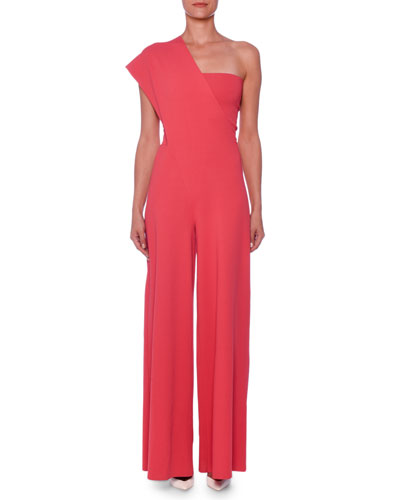 One-Shoulder Wide-Leg Knit Jumpsuit