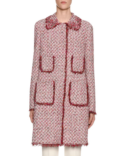 Four-Pocket Tweed Coat w/ Fringe Trim & Floral Beading