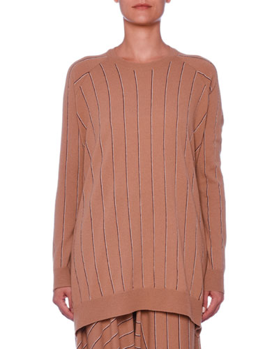 Pinstripe Crewneck Raglan Wool Sweater w/ Asymmetric Hem