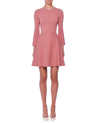 Bell-Sleeve Fit-and-Flare Short Dress