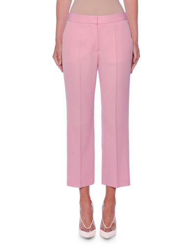 Flat-Front Straight-Leg Crop Classic Wool Pants