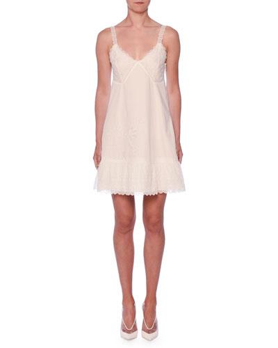 V-Neck Embroidered Anglais Cami Slip Dress