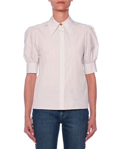 Puff-Sleeve Button-Front Pinstripe Blouse