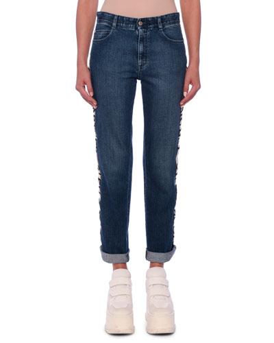 Logo-Stripe Straight-Leg Jeans